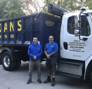 photo of Dan's Dumpsters owner, Dan Gallagher and his driver Brian.