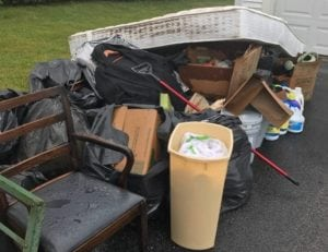 photo of junk and trash to be removed from a house in Holden MA