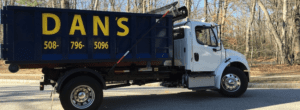 photo of a dumpster rental delivery in Whitinsville Massachusetts