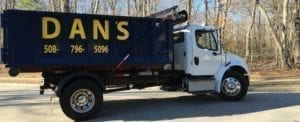 photo of a dumpster rental delivery truck from Dan's Dumpster rentals