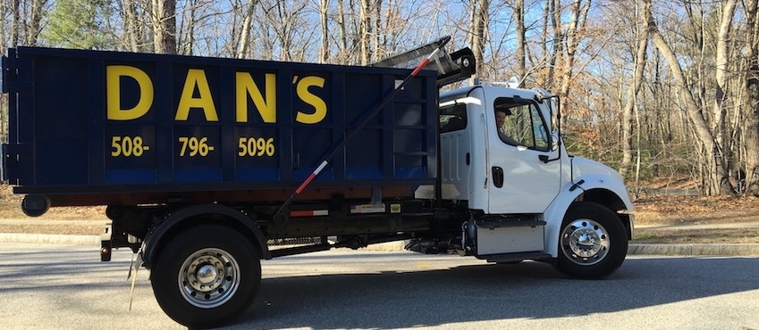 photo of a dumpster rental truck serving Mendon MA